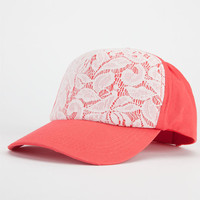 Lace Overlay Womens Hat Coral One Size For Women 22867231301