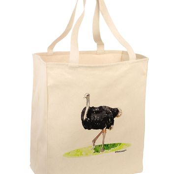 Ostrich Watercolor Large Grocery Tote Bag