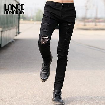 2016 New Skinny Pencil Black Men Jeans Ripped Demin hole Jeans Korean style Washed Distressed