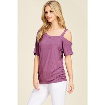 One Side Cold Shoulder Top in Plum
