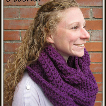 Crochet Infinity Scarf Warm Purple Triple Eternity Accessory for Fall Winter Chunky Knitted Christmas Gift Soft Loose Cozy Casual