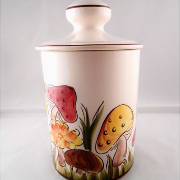 VTG Ceramic Cookie Jar Canister w Lid Hand Painted Mushrooms Made in Brazil 11""