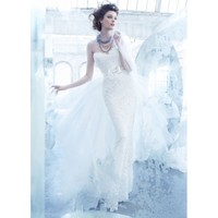 Lace and Net Strapless Sweetheart Neckline Sheath and Extra Part Wedding Dress
