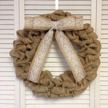 "Burlap and Lace Bow Wreath, 18"" Burlap Wreath with Removable Burlap and Lace Bow, Wreath for All Year, Shabby Chic Decor"