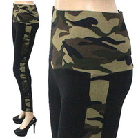 Black and Camo Accent Leggings