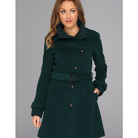 Cole Haan Wool Plush Asymmetrical Belted Coat