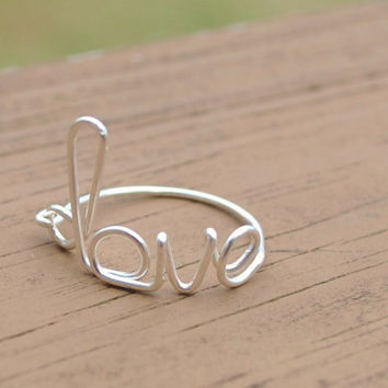 Wire Wrapped Ring Love by KissMeKrafty on Etsy