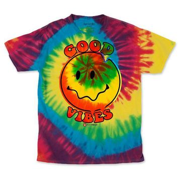 MEN'S RAINBOW GOOD VIBES TIE DYE TEE