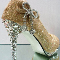 Womens Classic Bling Glitter Party Wedding Bridal High Heels Bowknot Shoes Pumps