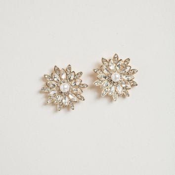 Lacey Crystal Flower Pearl Earrings