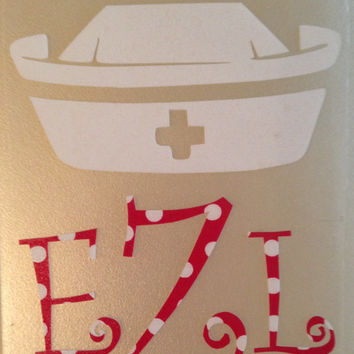 Monogrammed Decal Personalize with your initials and crown nurse cap cowboy/cowgirl hat or graduation cap