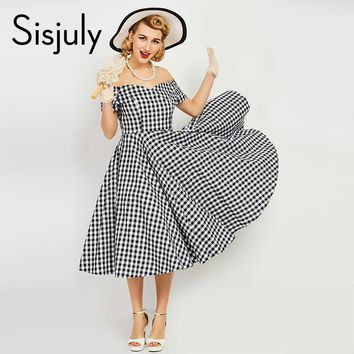 Sisjuly vintage dress women pin up black plaid elegant dresses luxury summer short sleeve a line female sexy vintage dresses new