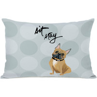 """Pup Words Bulldog"" Indoor Throw Pillow by April Heather Art, 14""x20"""