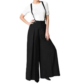 Women Vintage Strap Two Wear Wide Leg Pants Loose Pants Jumpsuit Overalls