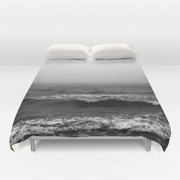 Black Fog - Duvet Cover, Gray Ocean Surf Seascape Bedding Accent, Beach Boho Chic Coastal Bedroom Decor Bed Blanket. In Twin Full Queen King