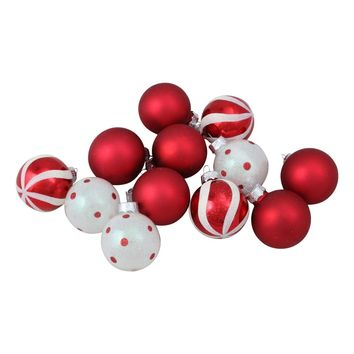 """12ct Red and White Patterned Glass Ball Christmas Ornament Set 1.75"""""""