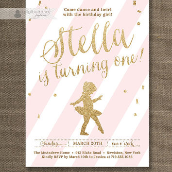 Pink & Gold Glitter Birthday Party Invitation Ballerina Ballet Confetti ANY AGE Milestone First Birthday Printable Digital orPrinted- Stella