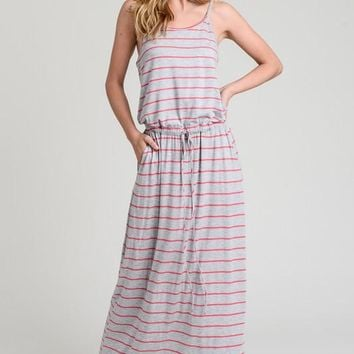Casual Striped Maxi Dress - Gray and Coral