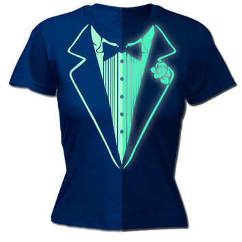 123t USA Women's Glow In The Dark Tuxedo Funny T-Shirt