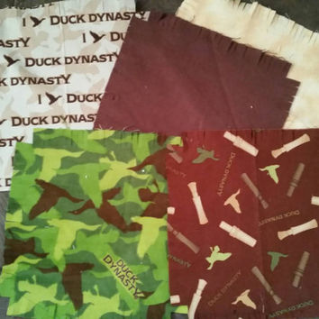 "Duck Dynasty Flannel  rag quilt kit Camouflage calls fringed die cut fabric squares batting complete set  ready to sew 45.5""x 58.5"