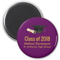 Graduation Cap and Diploma on Purple Class of 20XX Magnet