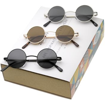 Retro 1970's Lennon Round Metal Sunglasses 9014 [Promo Box]