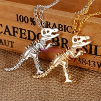 2 Color Silver and Gold Dinosaur Skeleton pendant Necklace