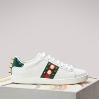 GUCCI - Studded Leather Low-Top Ace Sneakers