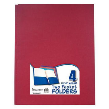 Two Pocket Folders with 3 Fasteners - 4 Pack-Asst.