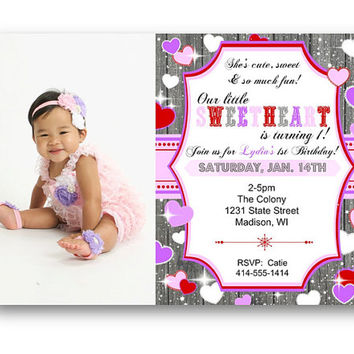 Valentine's Day Birthday Invitation valentines invite hearts purple red pink 1st birthday photo wood rustic lace vday sweetheart our little