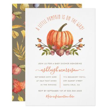 Little Pumpkin Gender Neutral Fall Baby Shower Invitation