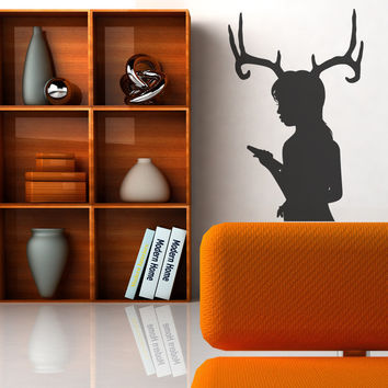 Vinyl Wall Decal Sticker Woman with Antlers #OS_MB300