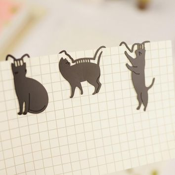 18 pcs/Lot  Metal Cat Bookmarks Paper clip Book marker page holder stationery office School supplies marcador de livro 1611