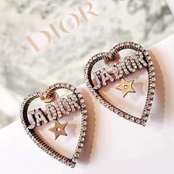 DIOR sells fashionable earrings with diamond letter studs for casual ladies
