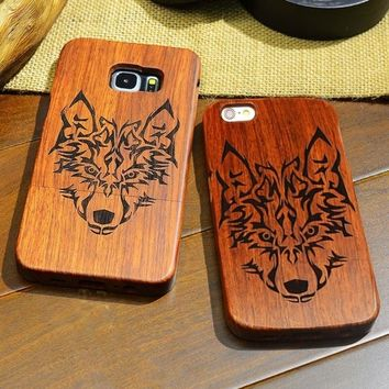 Retro Wooden Apple Samsung Phone Case Forest Wolf Hard Back Cover Case