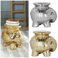 Global Boho Moroccan Caravan Metallic Elephant Stool