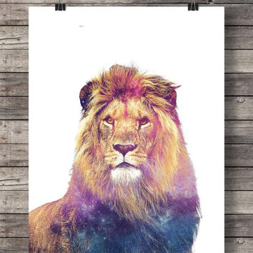 Printable art | Lion art print | Cute Lion face | cosmic  Lion photo | Printable wall art | Safari decor | Jungle  decor | African animals