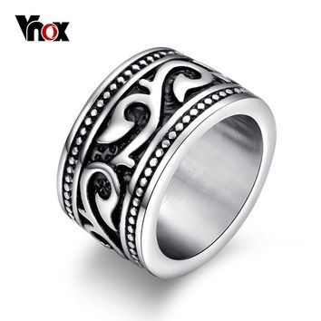 Vnox Vintage Men Rings Engraved Dragon Stainless Steel Male Rock Jewelry Party Gift US size 7 8 9 10 11 12