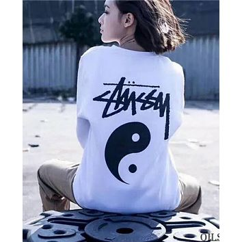Stussy Fashion Women Men Casual Pure Cotton Short Sleeve Lovers T-Shirt Pullover Top White I-Great Me Store