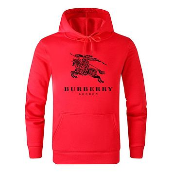 Burberry 2019 new classic horse print round neck hooded sweater red