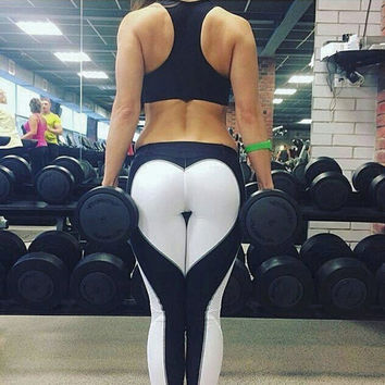 Patchwork Permeable Slim Sports Yoga Leggings [10884681423]