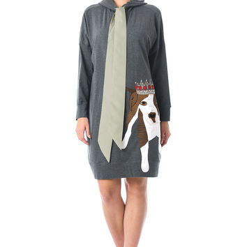 Dog applique cotton knit hooded dress