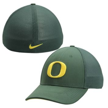 Oregon Ducks Dark Green Performance L91 Mesh Back Swoosh Flex Hat