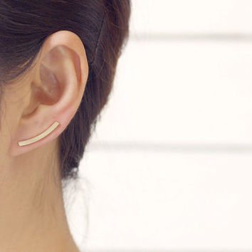 Curved Bar Ear Cuffs / long curved line bar ear climbers, minimalist bar ear crawlers, bar stud earrings / E154