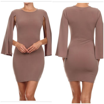 Nude Color Bat Wing Sleeve Cape Bodycon Dress Size Large