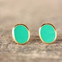 Supermarket: Bright Green Oval Studs from Diament Jewelry