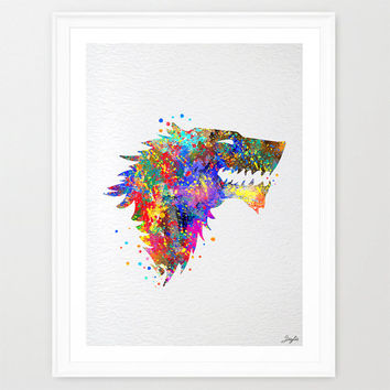 Stark House Crest Game of Thrones Watercolor Art Print,Wall Art Hanging,Home Decor,Nursery/Kids Art,Fine Art Print,Motivational art, #168