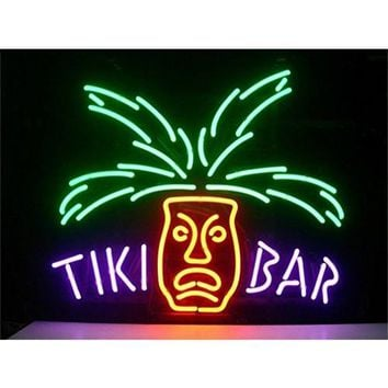 "Tiki BAR Paradise Palm Design Real Glass Tube Neon Lights Sign Store Display Beer Bar Pub Club Signs 17""x14"""