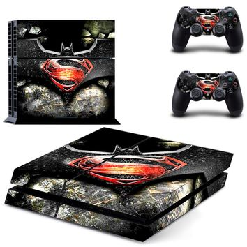 Superman VS Batman play 4 Skin Vinyl Decal Skin For play station 4 Console PS4+2Pcs Stickers For ps4 accessories 0334