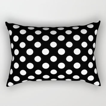 Black and White Polka Dot Pattern Rectangular Pillow by Smyrna